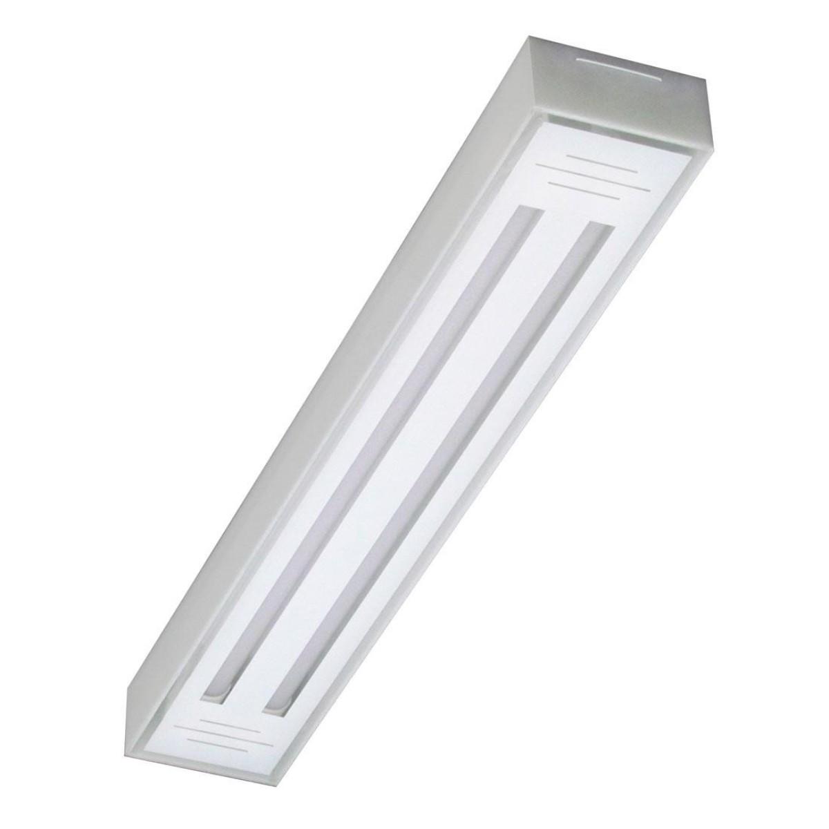 Luminária LED tube 2x120 sobrepor branco Val. 6500k Tualux