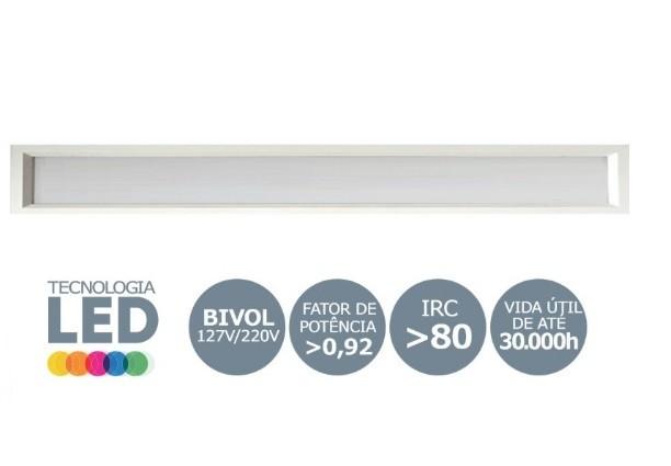 Luminária LED tube 2x60 embutir branco Sevilha 6500k Tualux