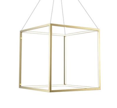 Luminária Pendente Cubo 3000k Dourado Bivolt DN38759
