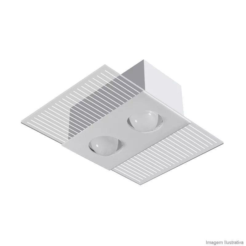 Luminária Sobrepor Mônaco Retangular Branco p/ 2 lâmp Tualux