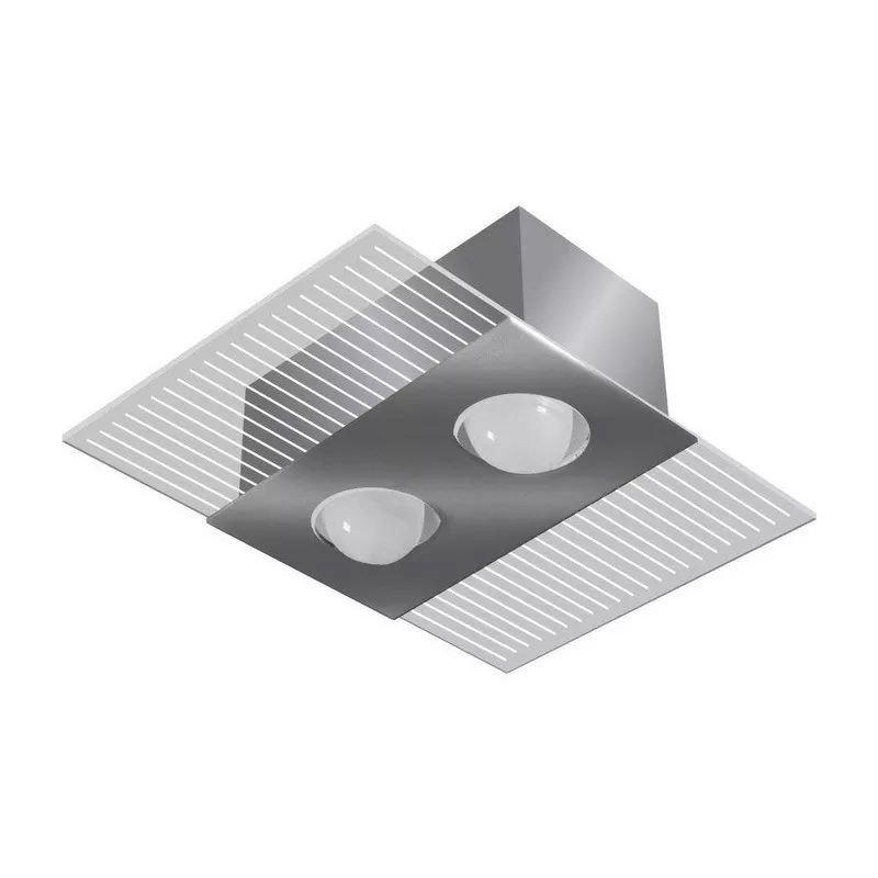 Luminária Sobrepor Mônaco Retangular p/2 lâmp. Tualux
