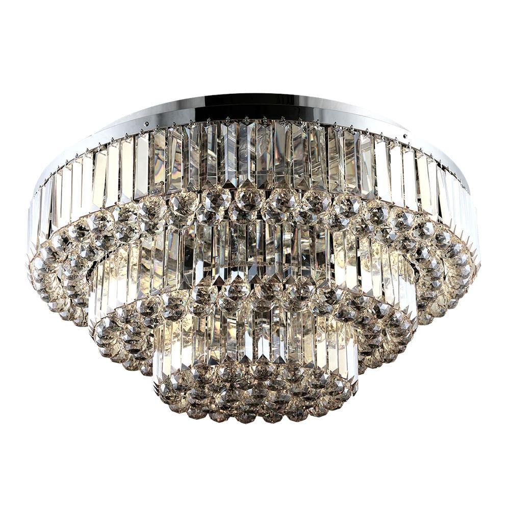 Lustre Dijon de Metal e Cristal Cromado e Transparente