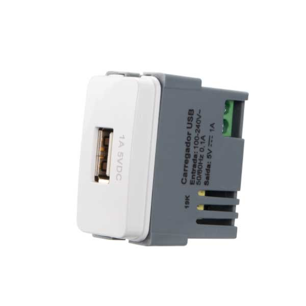 Módulo Tomada Carregador USB 1A Bivolt Branco - MARGIRIUS