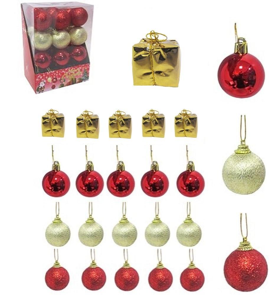 Pacote Bolas de Natal 24 Peças Vermelho