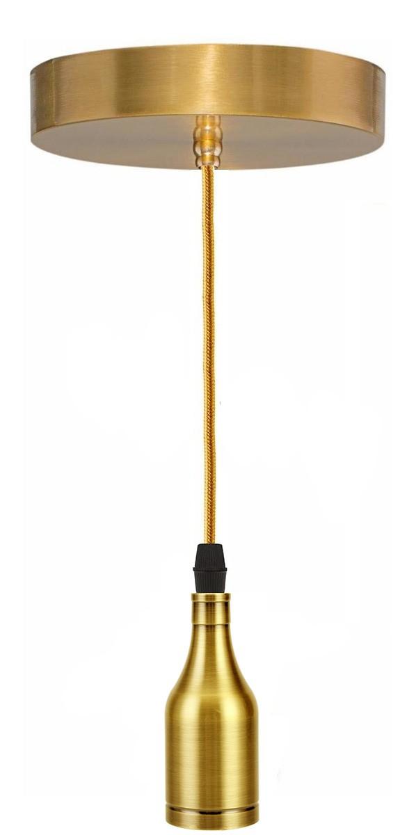 Pendente Simples Retro A8 E27 Liso Dourado