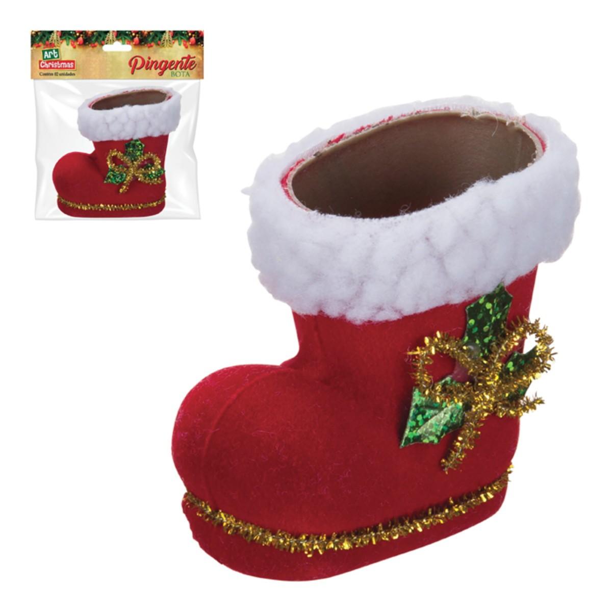 Pingente Bota Natal Com 2 Peças