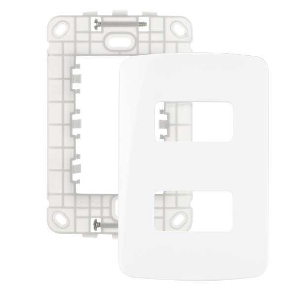 Placa 4x2 2 Postos Separados Horizontal + Suporte - MARGIRIUS