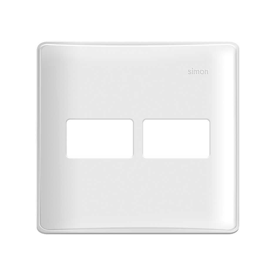 Placa 4x4 2 Postos com Suporte Branca SIMON