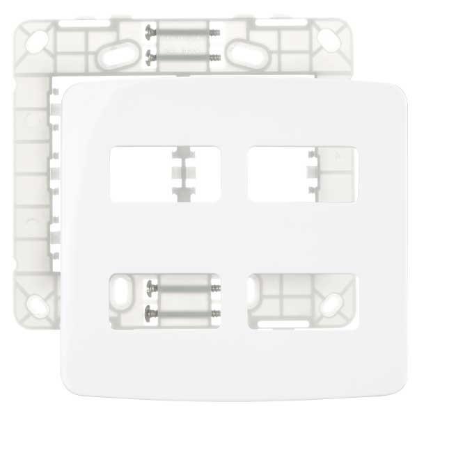 Placa 4X4 4 Postos Horizontal + Suporte Branco - MARGIRIUS