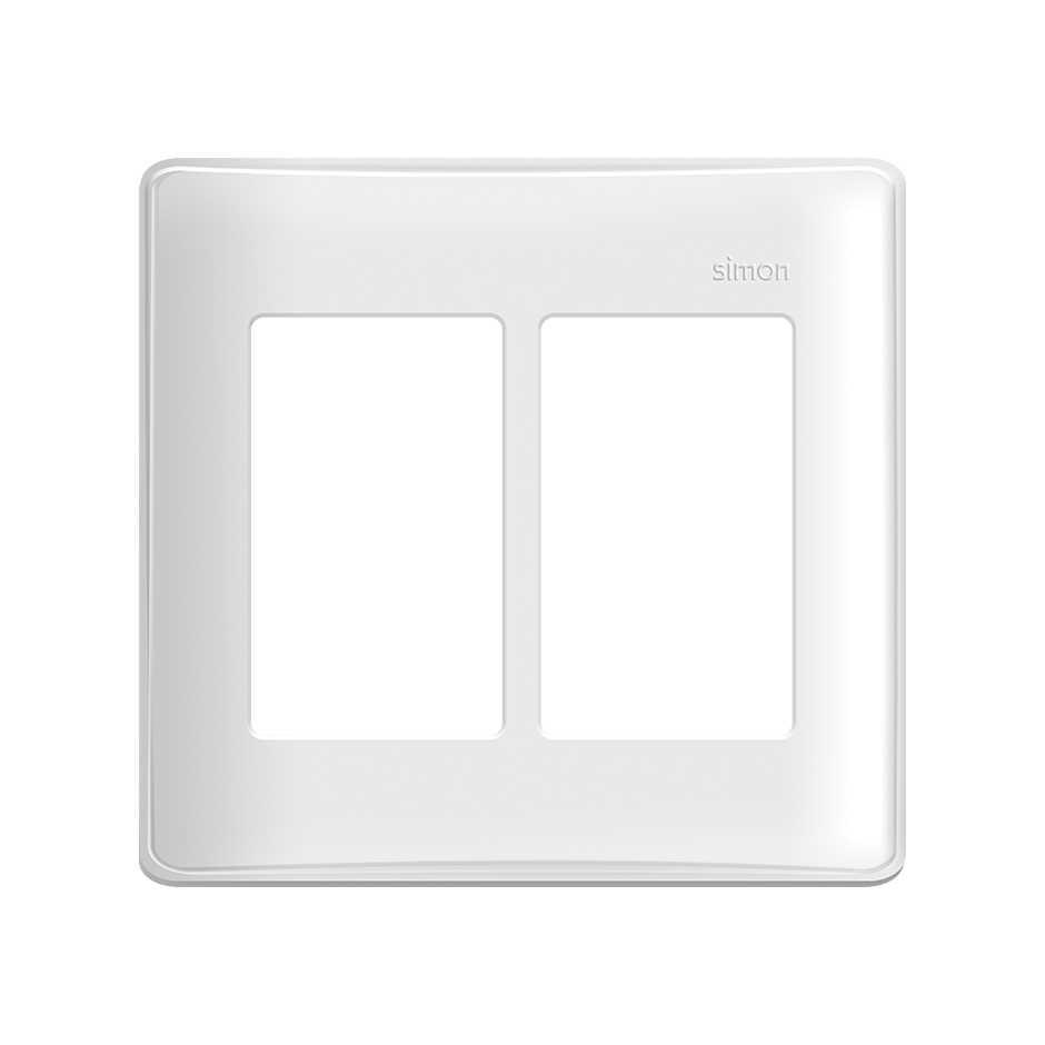 Placa 4x4 6 Postos com Suporte Branca - SIMON