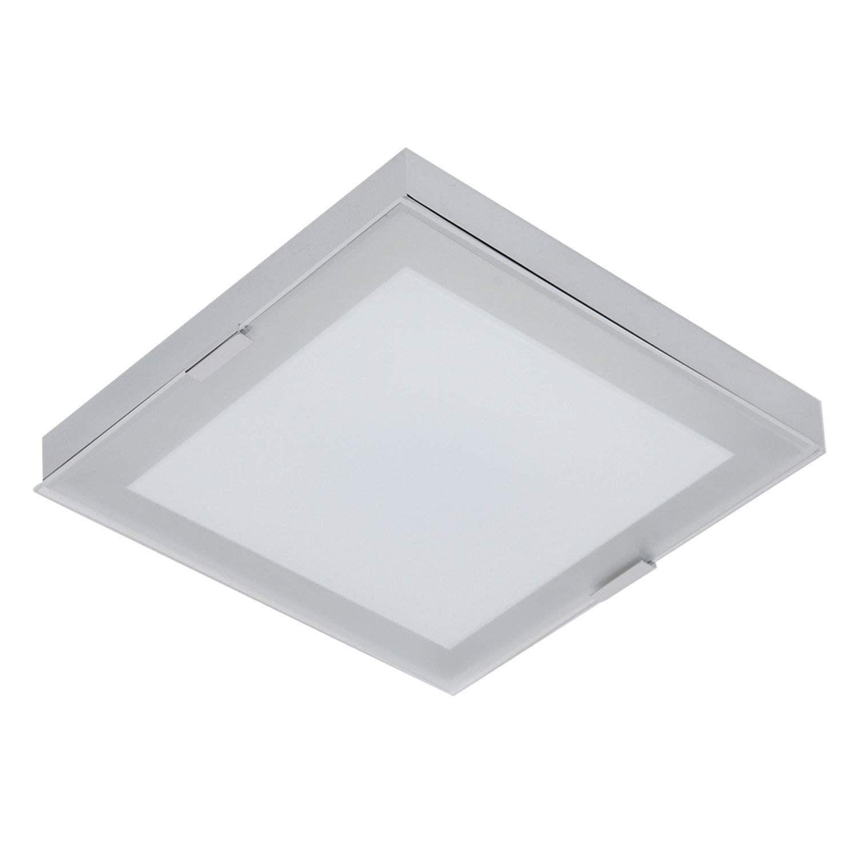 Plafon Metal Vidro Led 20w 35x35x8cm - Bella Iluminação