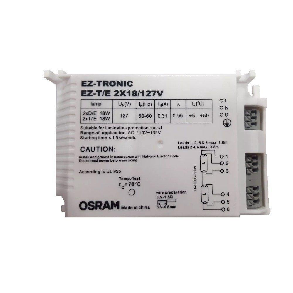 Reator Osram Ez Tronic 2x18/127v