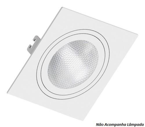 Spot De Embutir Quadrado 360º Face Plana Par30 E27 Branco