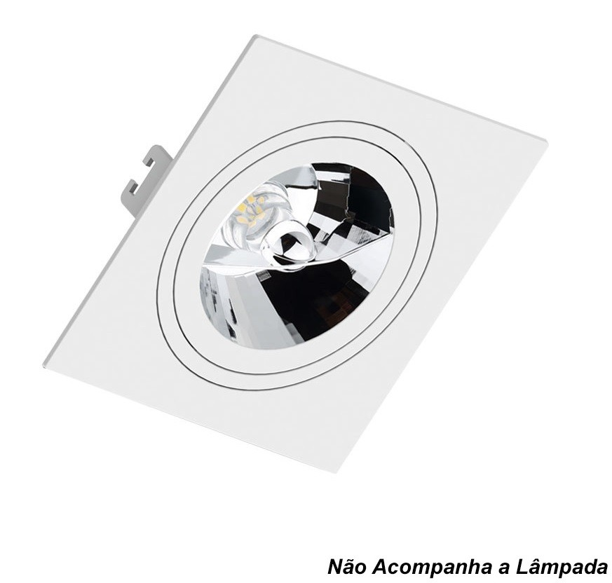 Spot Embutir AR111 Quadrado Branco Face Plana
