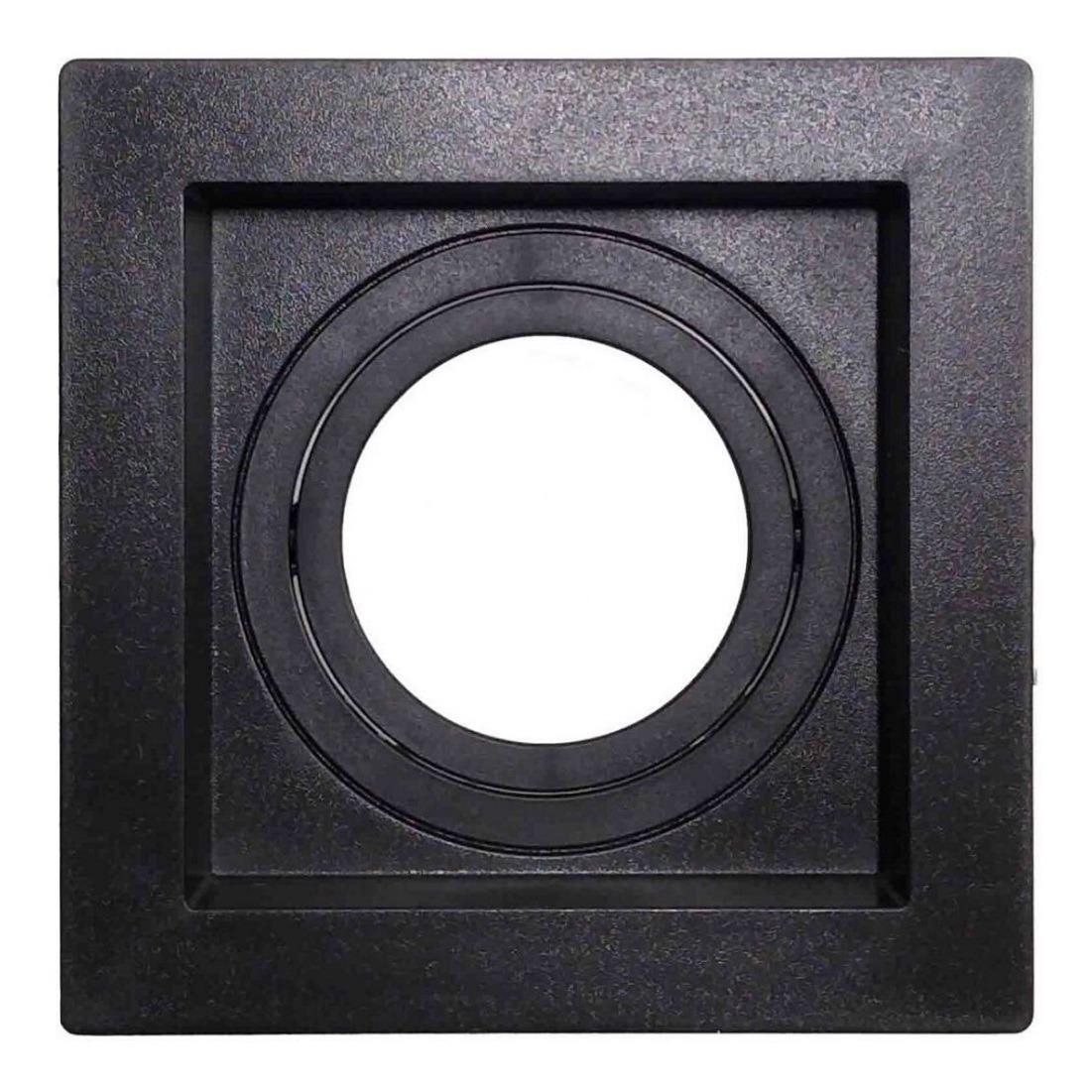 Spot Embutir Dicroica Quadrado Recuado Preto