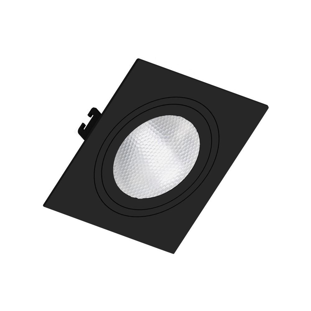 Spot Embutir Par30 Quadrado Preto Face Plana