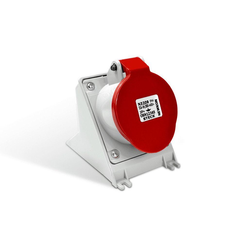 Tomada Industrial  Sobrepor 2P+T 32A Vermelha - STECK
