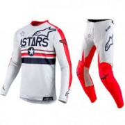 Conjunto Alpinestars Racer Tech Five Star Branco/Vermelho