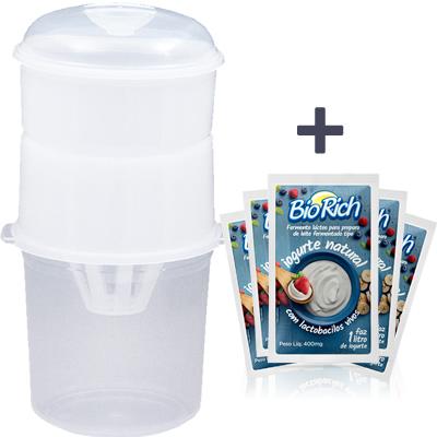 01 Dessorador para Iogurte (Ideal para preparo de Iogurte Grego) + 10 Fermentos BioRich