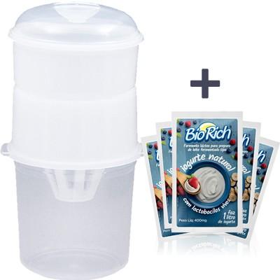 01 Dessorador para Iogurte (Ideal para preparo de Iogurte Grego) + 24 Fermentos BioRich