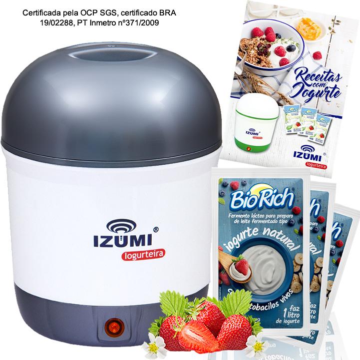 01 Iogurteira Cinza + 18 Fermento Bio Rich + Livro de Receitas (Brinde)