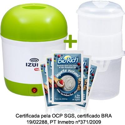 01 Iogurteira Elétrica Bilvolt + 01 Dessorador + 05 Fermentos BioRich