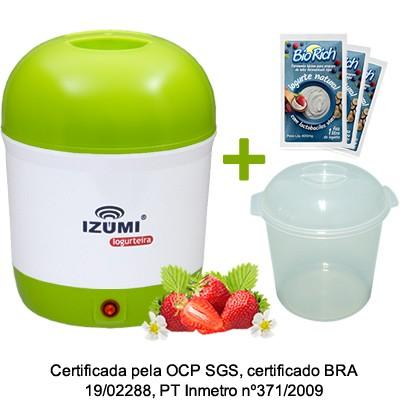01 Iogurteira Elétrica Bilvolt + 1 Pote + 05 Fermentos Bio Rich