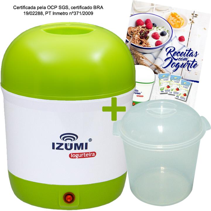 01 Iogurteira Verde + 1 Pote + Livro de Receitas (Brinde)