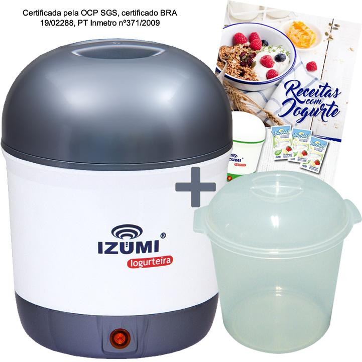 01 Iogurteira Elétrica Bilvolt Cinza + 1 Pote + Livro de Receitas (Brinde)