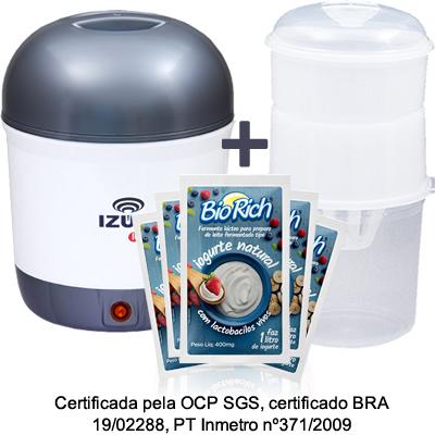 01 Iogurteira Elétrica Bivolt Cinza + 01 Dessorador + 10 Fermentos BioRich