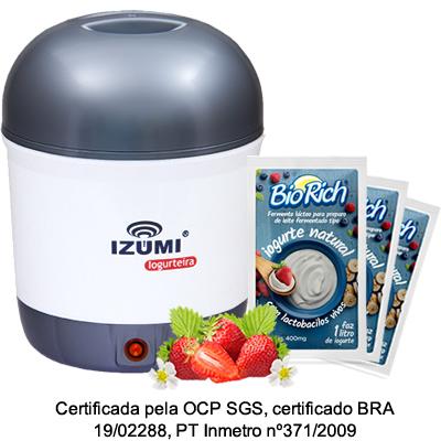 01 Iogurteira Elétrica Bivolt Cinza + 10 Fermento Bio Rich