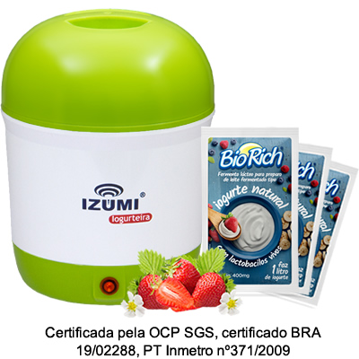 01 Iogurteira Elétrica Bivolt Verde + 10 Fermento Bio Rich