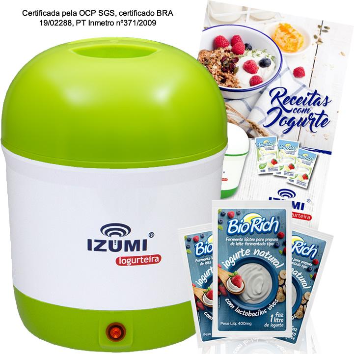 01 Iogurteira Elétrica Verde + Livro de Receitas + 3 Sachê (brinde)