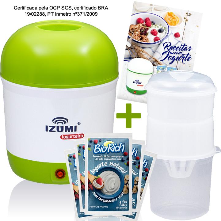 01 Iogurteira Verde + 01 Dessorador + 09 Fermentos BioRich + Livro de Receitas (Brinde)