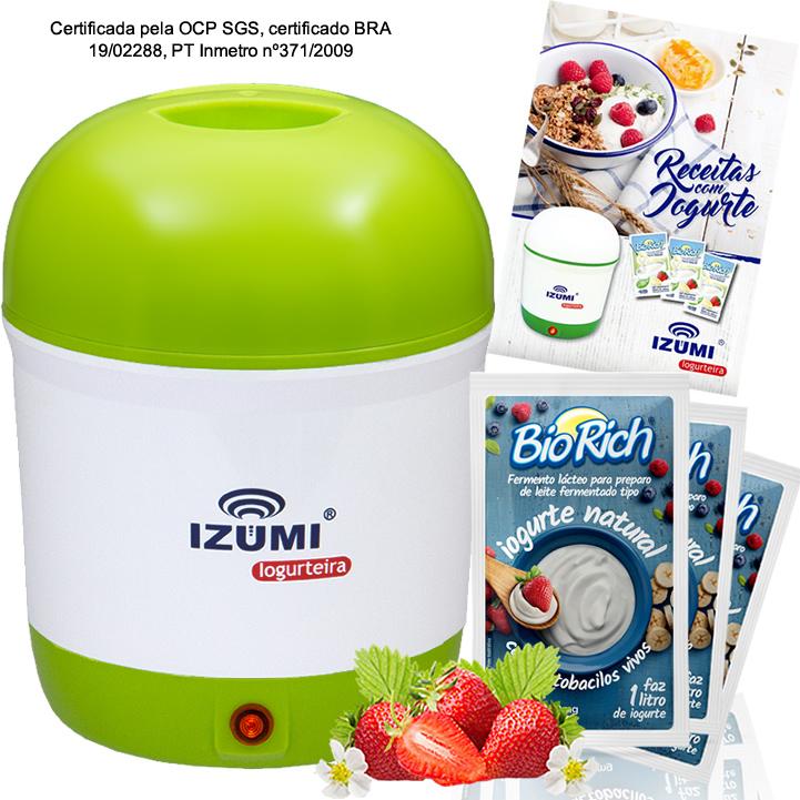 01 Iogurteira Verde + 09 Fermento Bio Rich + Livro de Receitas (Brinde)