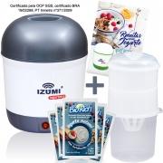 01 Iogurteira Cinza + 01 Dessorador + 09 Fermentos BioRich + Livro de Receitas (Brinde)
