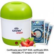 01 Iogurteira Elétrica Bivolt Verde + 20 Fermento Bio Rich