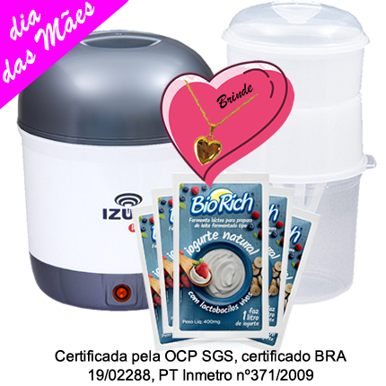Kit Mãe Iogurteira Cinza + 01 Dessorador + 03 Fermentos Bio Rich®