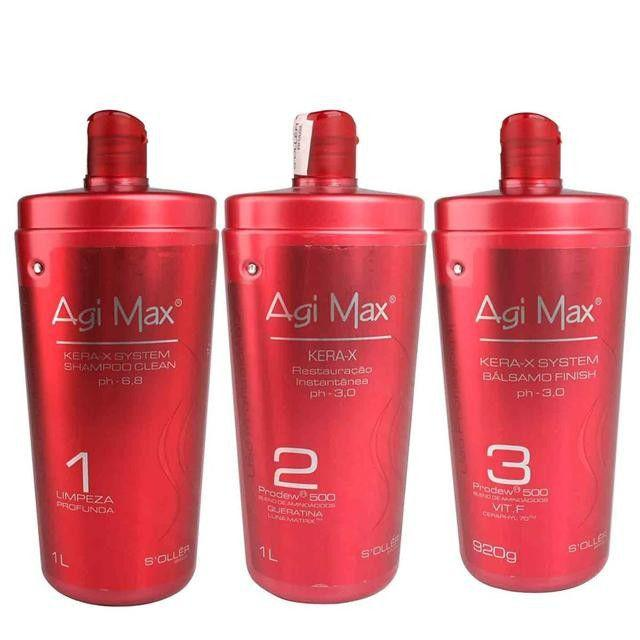Agi Max Soller Red Kera-X Kit Escova Progressiva - 3x1000ml