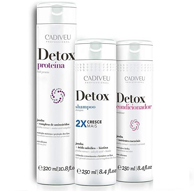 Cadiveu Detox Kit Home Care 3 produtos - Detox Proteína 320ml Detox Shampoo 250ml Condicionador Detox 250ml - P