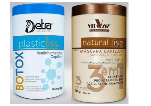 Combo Duo Botox Capilar Detra Plastic Liss 1Kg + Máscara Natural Lise 1Kg Vitalise - R
