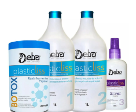 Detra Escova Progressiva Plastic Liss 1litro Sem Formol + Botox Detra Plastic Liss 1Kg - R