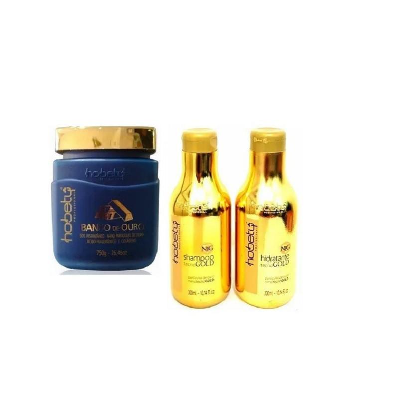 Hobety Banho de Ouro - TRIO Shampoo e Hidratante 300g + Máscara 750g