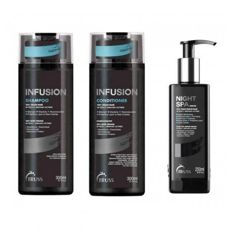 Kit Truss Infusion 3 Produtos - Shampoo Condicionador 2x 300ml + Nght Spa 250ml