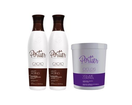Portier Fine Escova Progressiva Cacao e Botox Ciclos Matizador Cabelos Loiros