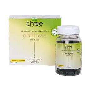 Three Therapy Pantovin Suplemento Vitamínico e Mineral 60 Cápsulas Eficaz - R