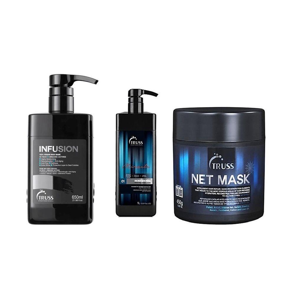 Truss Infusion 650ml + Shampoo Bidimensonal 1000ml + Truss Net Mask 550g