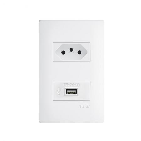 Tomada 2P+T Com USB  Habitat 10A 2737 Fame