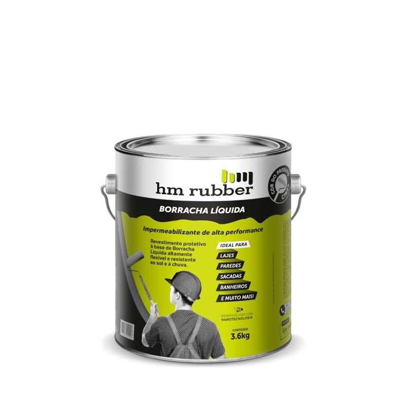 Borracha Líquida 3,6Kg Cinza Hm Rubber