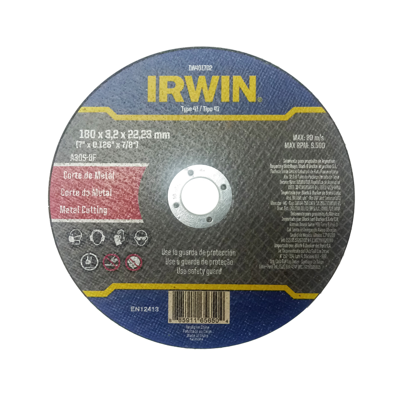 Disco De Corte Metal 7'X3,2X78' Irwin